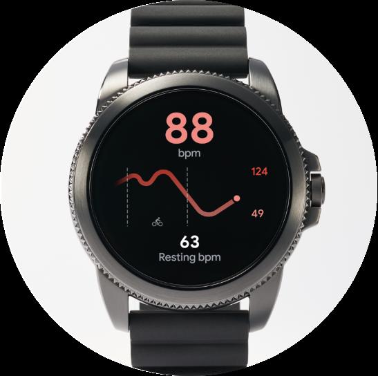 Une montre 5èmegénérationE affiche le rythme cardiaque à côté d'un smartphone affichant l'itinéraire d'un joggeur.