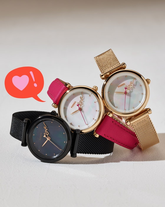 Three stacked Carlie Mini watches.