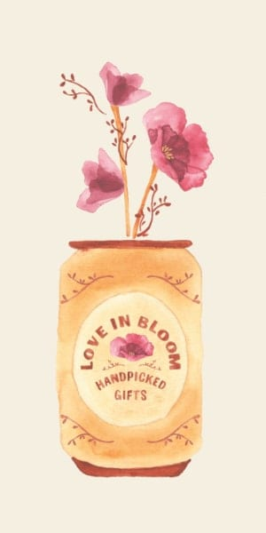 A hand-drawn soft-drink can with flowers coming out of its top.