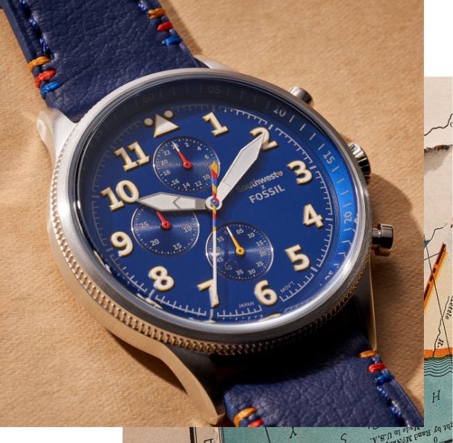 SOUTHWEST X FOSSIL Watch with pilot-inspired dial
